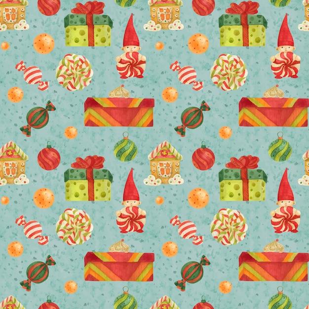 Шаблон фабрики рождественских эльфов с пряниками, леденцами и подарками на светло-голубом Premium векторы