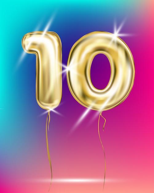 Номер десять золотой фольги воздушный шар на градиенте Premium векторы