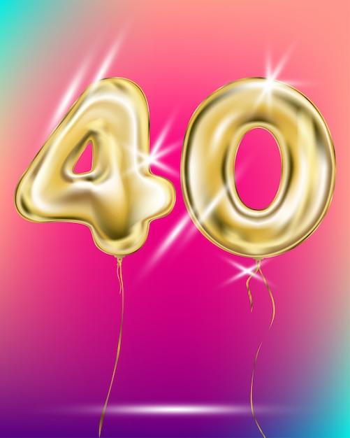 Число сорок золотой фольги воздушный шар на градиенте Premium векторы