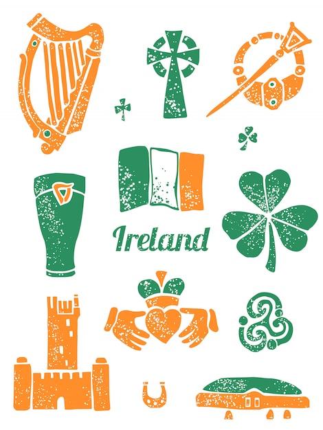 Символ ирландии установлен в стиле лино Premium векторы