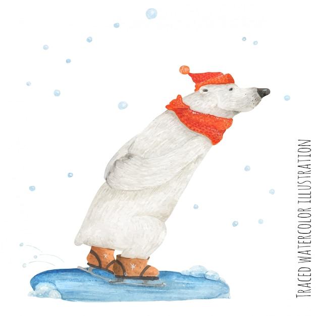 シロクマは雪の中でスケート Premiumベクター