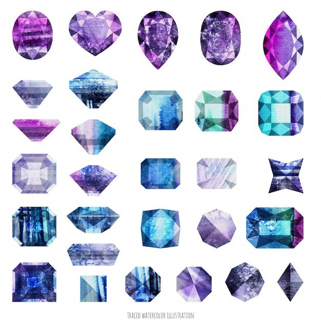 紫と紫の宝石 Premiumベクター