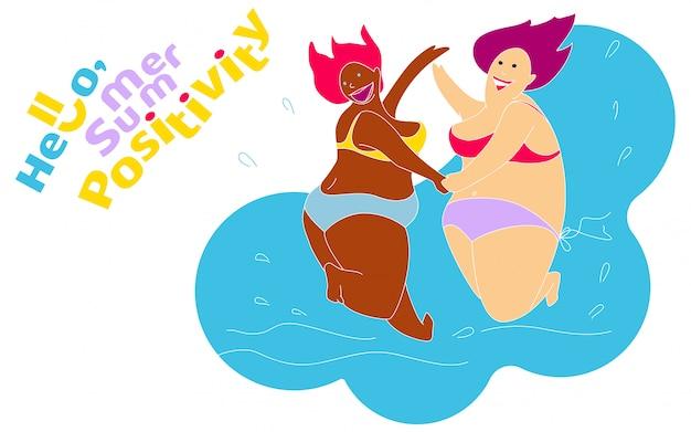 夏のビーチで面白い幸せな太った女の子 Premiumベクター