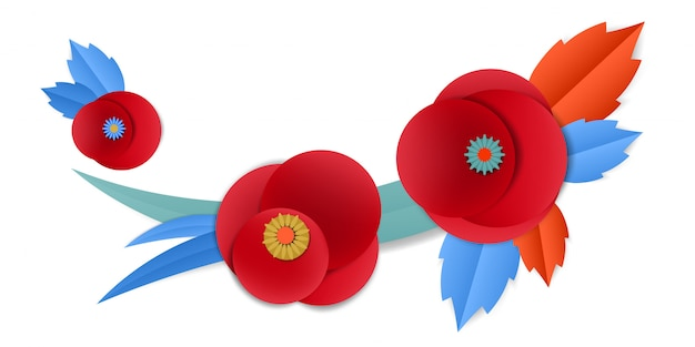 ベクトルカットビネットの紙のケシの花 Premiumベクター