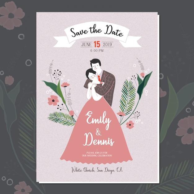招待状の手描きかわいい結婚式のカップルのベクトル Premiumベクター
