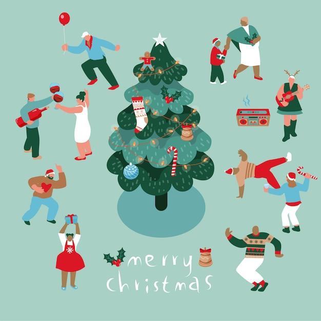 パーティーでクリスマスを祝う人々 Premiumベクター