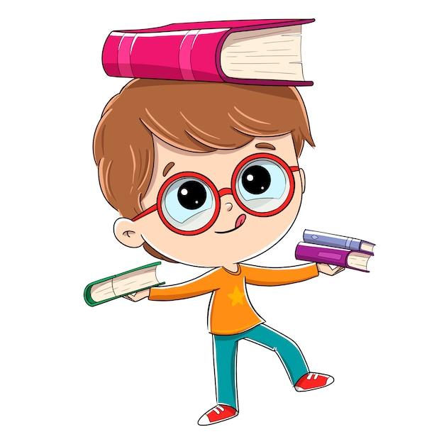 バランスをとる本を持つ子供。彼は手に本を持っていて、落ちないようにしています Premiumベクター
