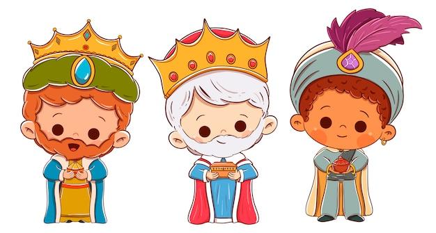 東洋の三人の王。メルヒオール、キャスパー、バルタザール Premiumベクター