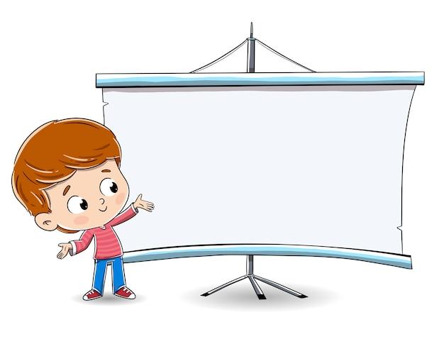 Мальчик, показывая что-то на доске. Premium векторы