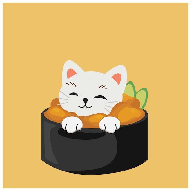 寿司のかわいい子猫、ユニ寿司、 Premiumベクター