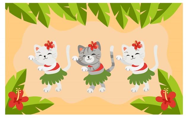 ハワイアンダンスを踊る猫 Premiumベクター