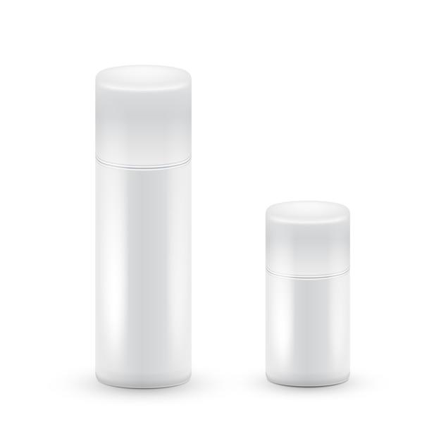 白い大小のエアロゾルスプレーのボトル、化粧品、香水、ヘアスプレー用のメタルボトル。デオドラントパッキング。 Premiumベクター