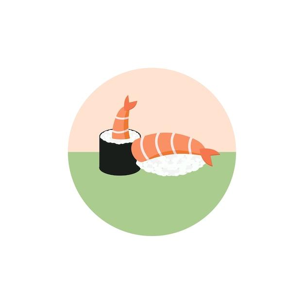 寿司ロールエビイラスト白背景日本食アイコンフラット