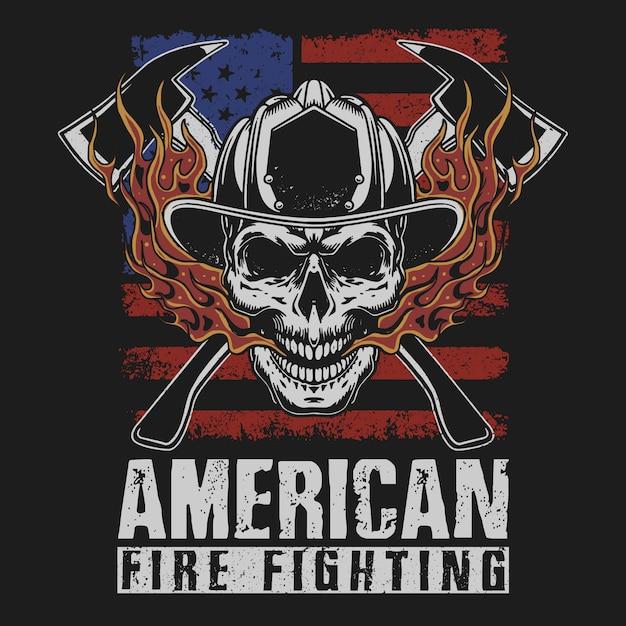 アメリカの消防グランジイラスト Premiumベクター