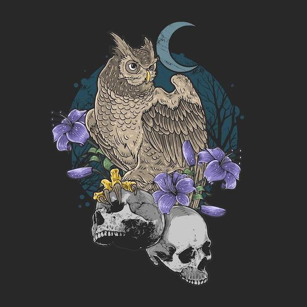 Сова птица цветочная с черепом кошмар Premium векторы
