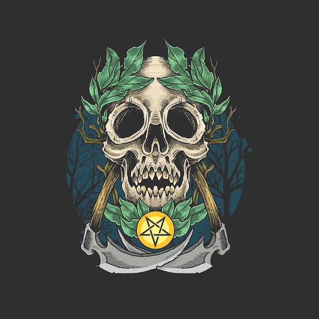 頭蓋骨死んだアートワークシンボル Premiumベクター