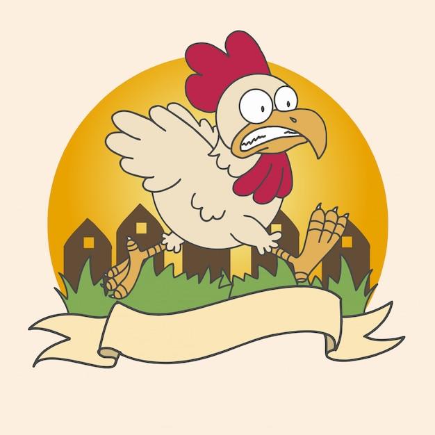 Курица еда логотип бизнес вектор оранжевый деревня трава курица работает Premium векторы