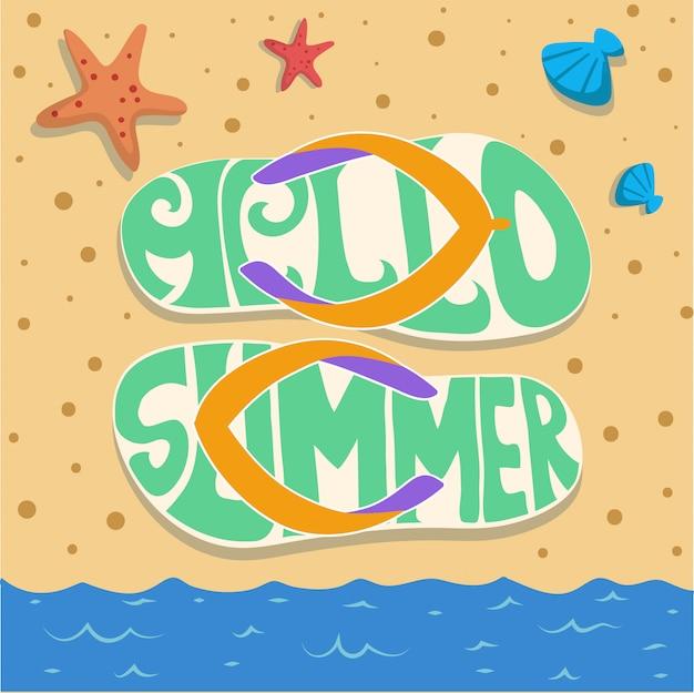 夏サンダルビーチ砂パーティーベクトル Premiumベクター