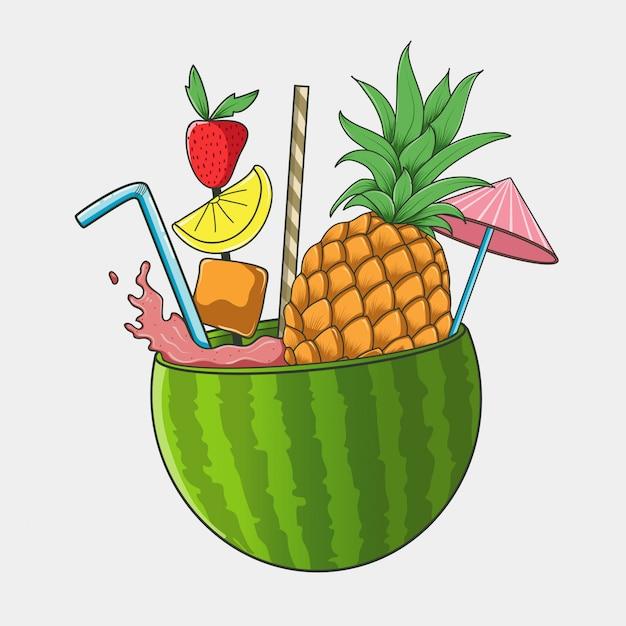 夏スイカストロベリーパイナップルアイスジュースベクトル Premiumベクター