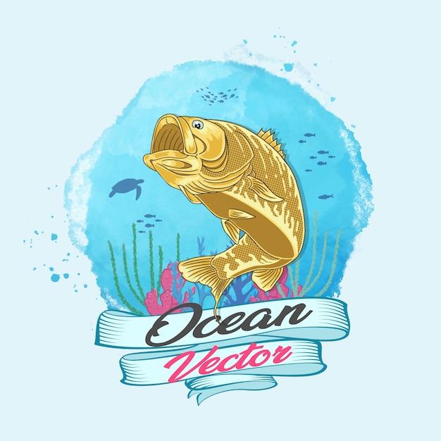 Океан вектор золотая рыбка в глубоководном векторе Premium векторы