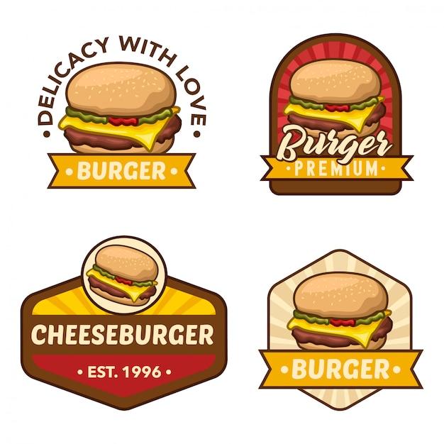 ハンバーガーのロゴ株式ベクトルを設定 Premiumベクター