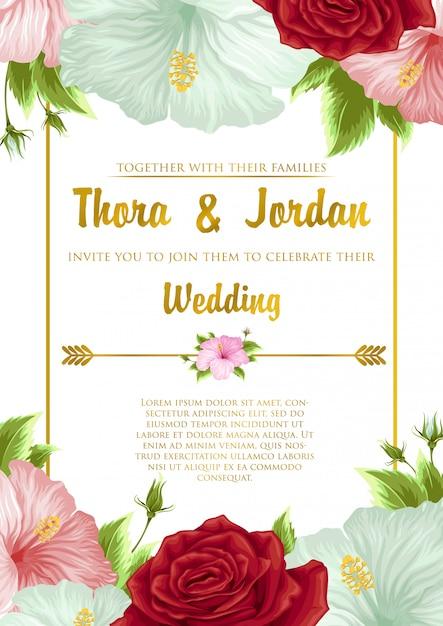 花の背景テンプレートデザインの結婚式招待状 Premiumベクター