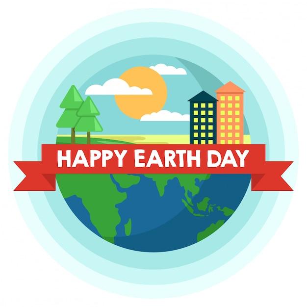 День матери земли с деревьями и зданиями Premium векторы