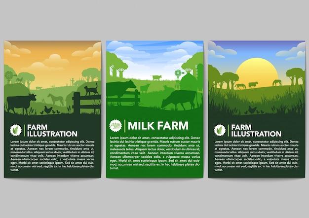 Набор векторных баннеров фермы Premium векторы