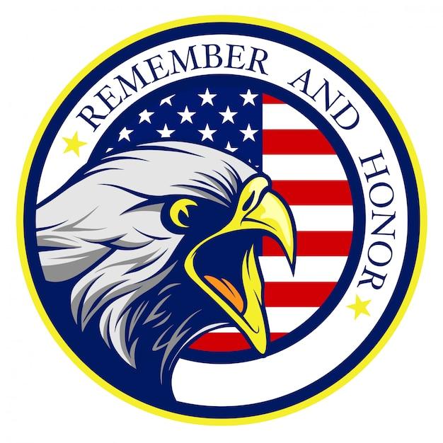 Американский белоголовый орлан, кричащий с флагом сша Premium векторы