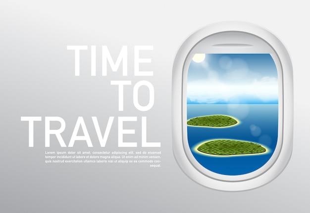 Туристические направления время путешествовать. веб-баннер Premium векторы