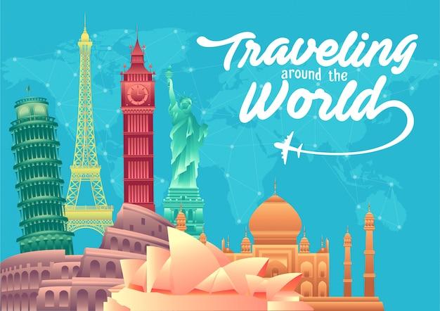 Всемирный день туризма плакат с элементами всемирно известных достопримечательностей и туристических направлений Premium векторы
