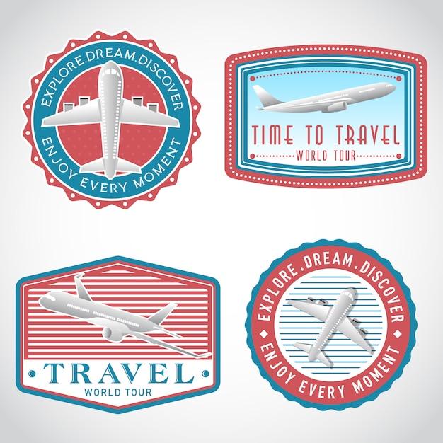 Самолет транспорт векторный набор меток, шаблон логотипа Premium векторы