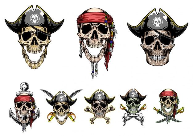 Череп пираты векторный набор Premium векторы