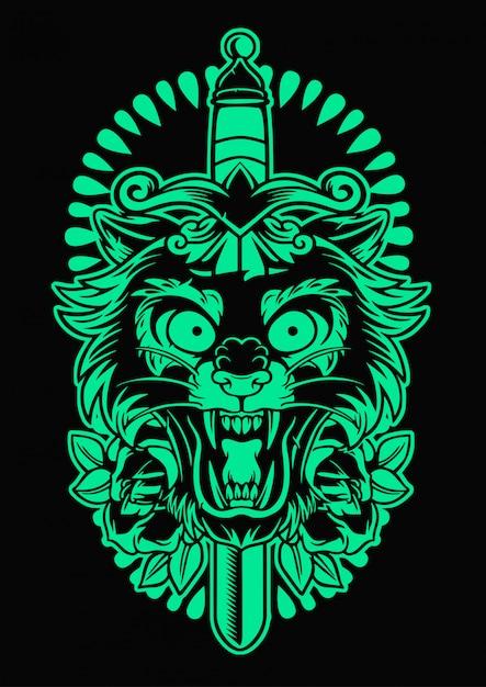 Эмблема пантеры и ножа Premium векторы