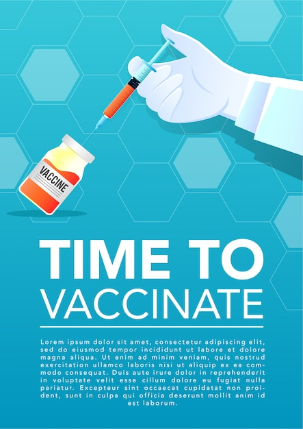 インジェクターとワクチンを持っている医者の手 Premiumベクター