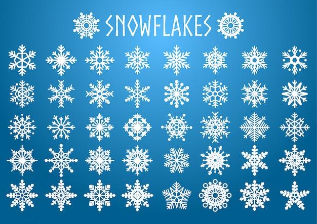 Векторный набор снежинок фигур. Premium векторы