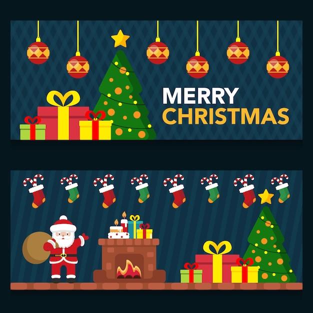 Установить милый ночная сцена рождественский баннер Premium векторы