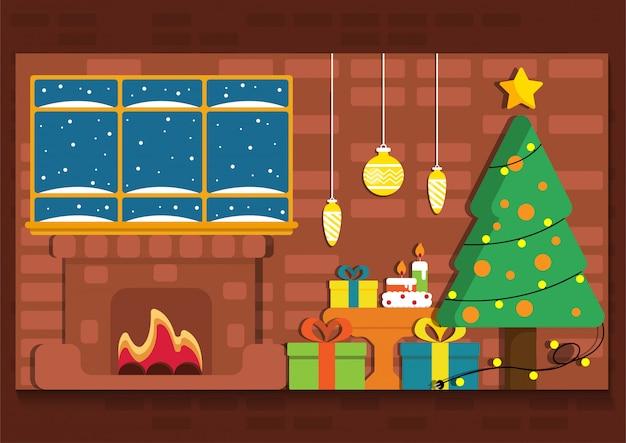 Милое рождество с ямой огня внутренний баннер представления. Premium векторы