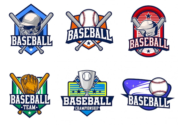 野球バッジベクトルを設定 Premiumベクター