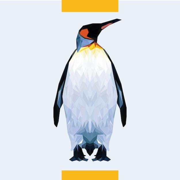 低多角形ペンギンヘッドベクトル Premiumベクター