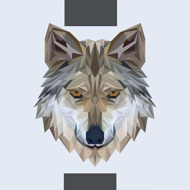 低多角形のオオカミの頭ベクトル Premiumベクター