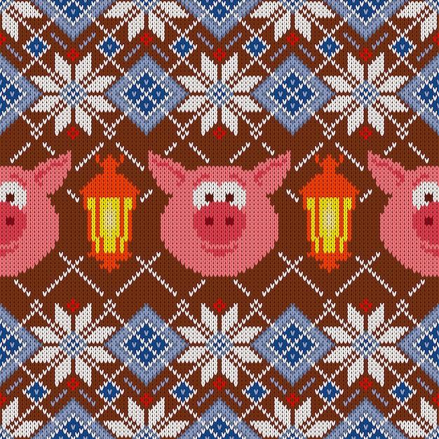 豚と提灯のシームレスなウールニットパターン Premiumベクター