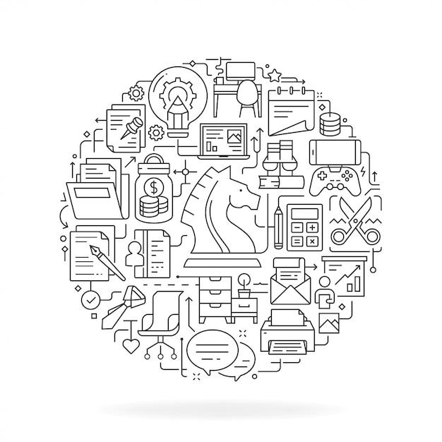 薄いフラット図の事業所コンセプト Premiumベクター