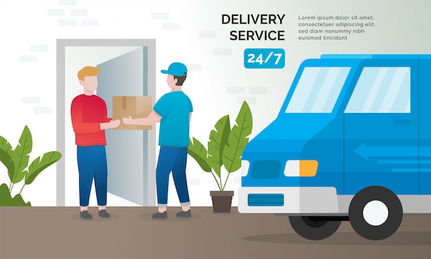 配送サービスのイラストの概念 Premiumベクター