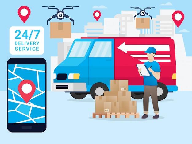 スマートフォンでの小包の動きのオンライン追跡 Premiumベクター