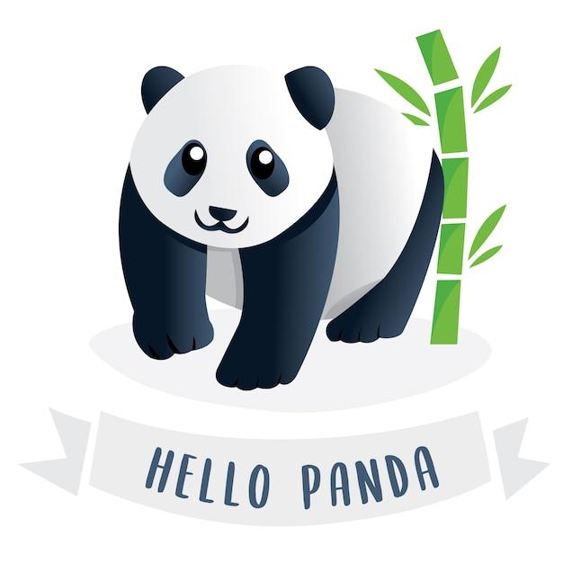 かわいい漫画の巨大なパンダ Premiumベクター