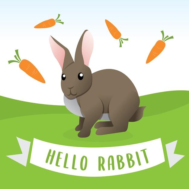 漫画のスタイルのウサギ、ニンジンと漫画幸せなウサギ。面白い幸せな動物、漫画かわいいウサギのベクトルイラスト Premiumベクター