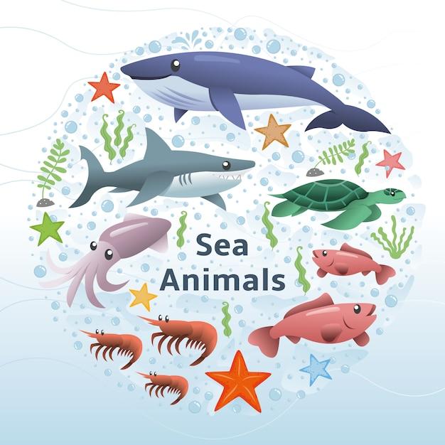 Морские животные векторный набор Premium векторы