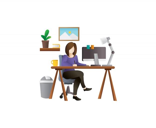 Молодая женщина фрилансер векторные иллюстрации Premium векторы