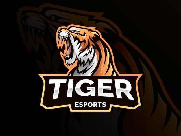 Тигр талисман спортивный логотип Premium векторы